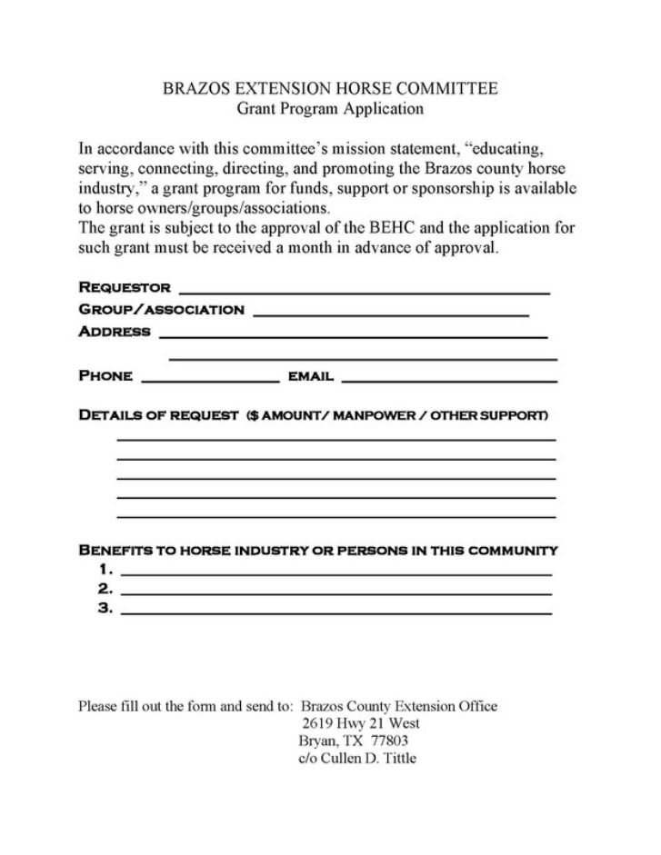 grant application brazos extension horse commitee